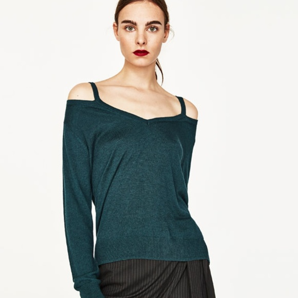 bb6c8b55 Zara Sweaters   Cutout Cold Shoulder Knit Sweater   Poshmark